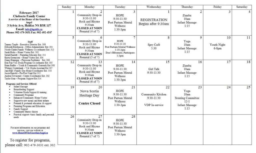 Feb 2017 Program calendar